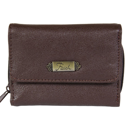"Wallet w/""Faith"" Badge (Brown)"