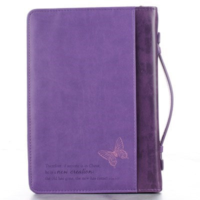 New Creation Purple Butterflies Faux Leather Fashion Bible Cover - 2 Corinthians 5:17