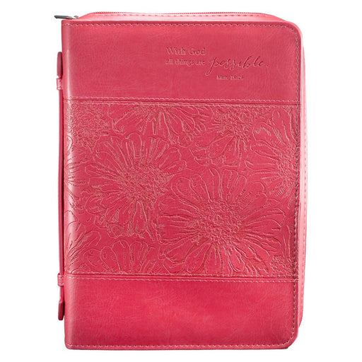 Pink LL Bible Cover With God Mt 19:26 Lg