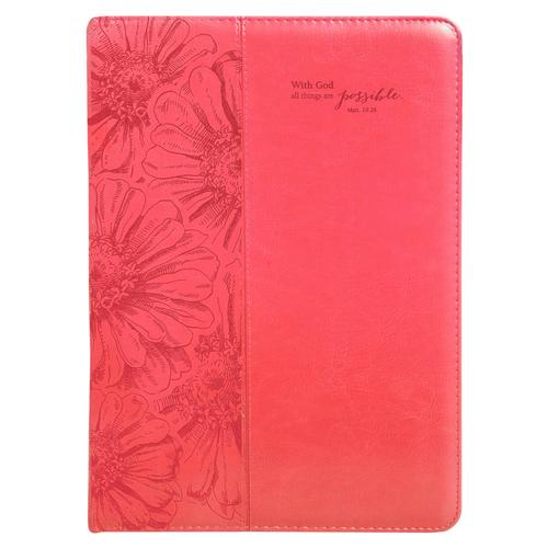 "Pink ""All Things Are Possible"" Legal Size Zippered Portfolio - Matthew 19:26"
