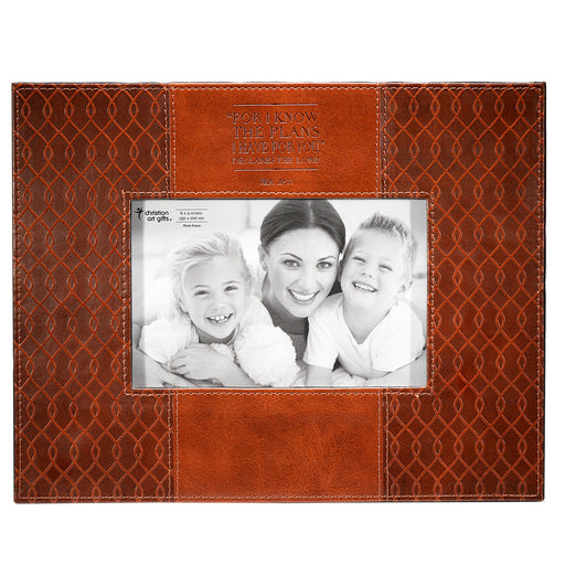 Jer. 29:11 (Tan) Faux Leather Photo Frame