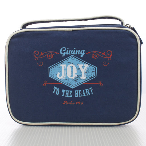 Canvas Bible Cover Blue Joy Ps 19:8 Med