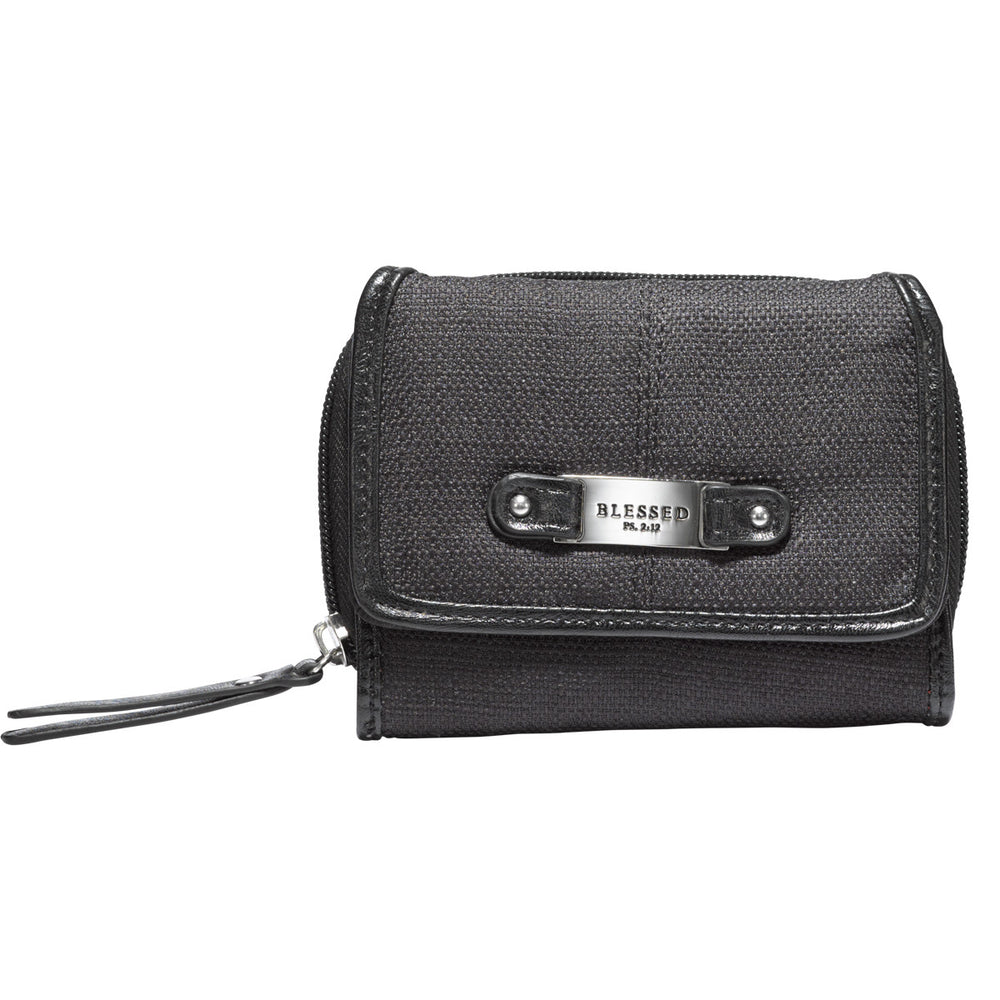 "Black Linen Look Wallet w/""Blessed"" Badge"