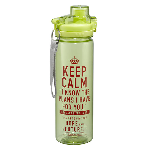 """Keep Calm"" Lime Green Plastic Water Bottle - Jeremiah 29:11"