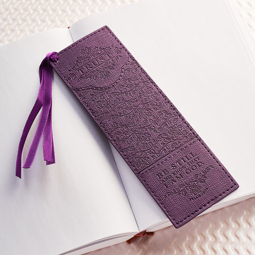 "Purple ""Trust"" Faux Leather Pagemarker / Bookmark - Psalm 46:10"