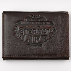 "Brown Genuine Leather ""Eternal Life"" Tri-Fold Wallet"