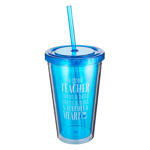 "Blue Blessings to the Teacher ""Touches a Heart"" Insulated Plastic Tumbler - 1 Corinthians 16:14"
