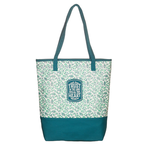 Teal Small Prints Canvas Tote Bag - Proverbs 3:5