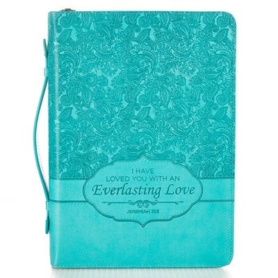 Everlasting Love Turquoise Faux Leather  Fashion Bible Cover - Jeremiah 31:3