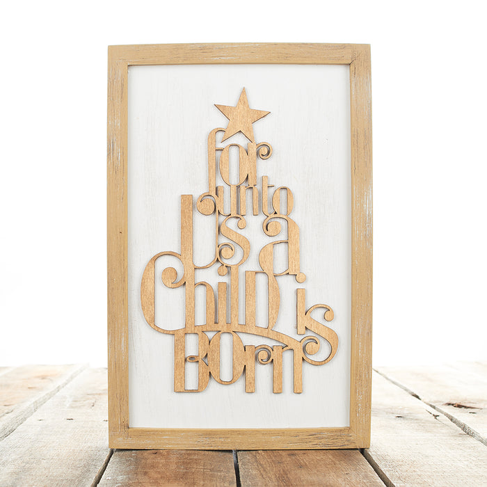 """For unto Us a Child is Born"" Wooden Silhouette Christmas Wall Plaque"
