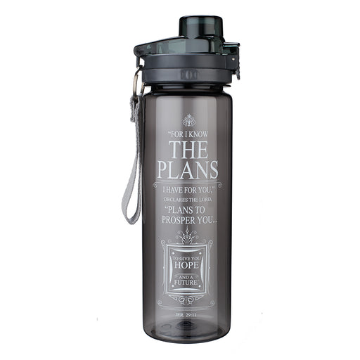 Plans Black Plastic Water Bottle