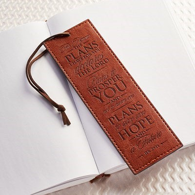 For I Know The Plans Brown Faux Leather Bookmark - Jeremiah 29:11
