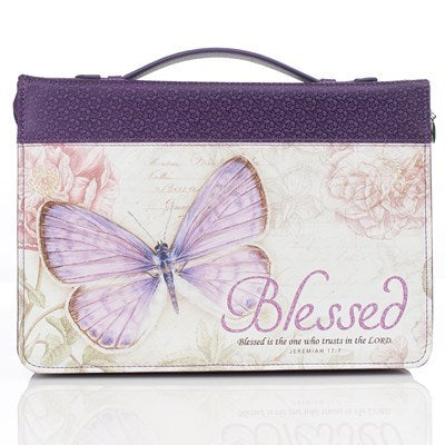 Blessed Purple Butterfly Blessings Faux Leather Fashion Bible Cover - Jeremiah 17:7