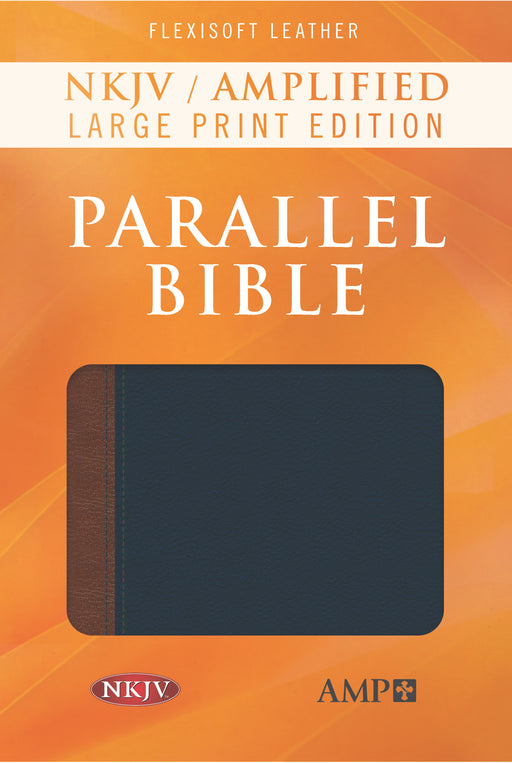 NKJV/Amplified Parallel Bible/Large Print-Blue/Brown Flexisoft Leather (Feb 2018)