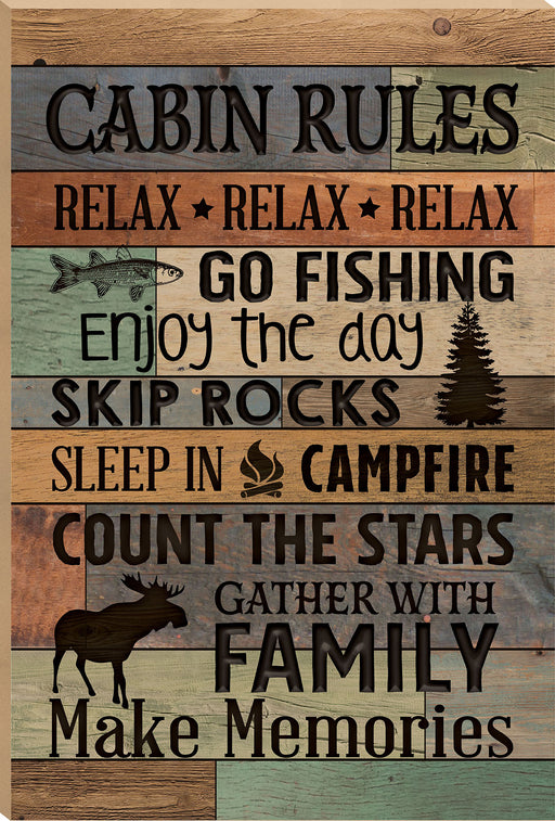 Barn Board (1s):Cabin Rules (16x24)