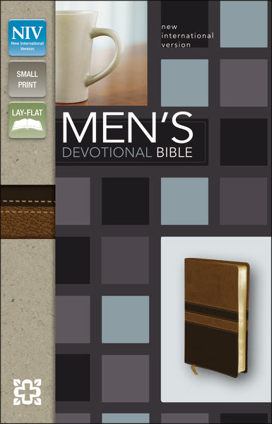 NIV, Men's Devotional Bible, Compact, Leathersoft, Brown