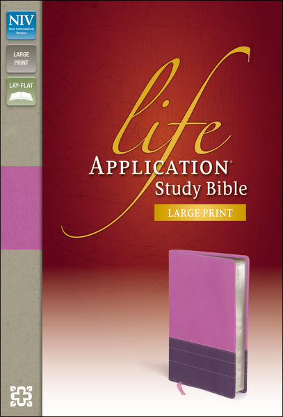 NIV, Life Application Study Bible, Large Print, Leathersoft, Pink/Purple