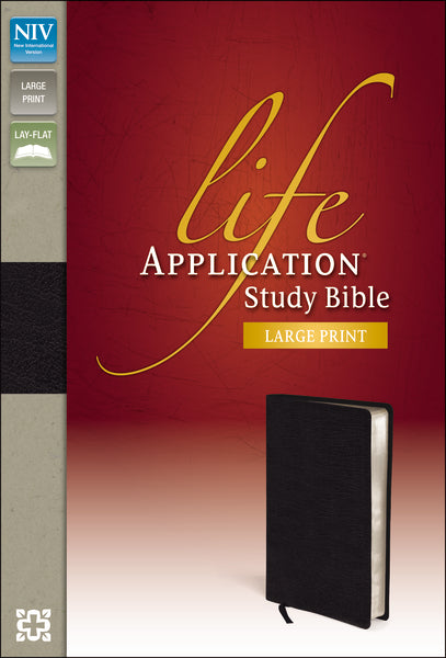NIV, Life Application Study Bible, Second Edition, Large Print, Bonded Leather, Black, Red Letter Edition