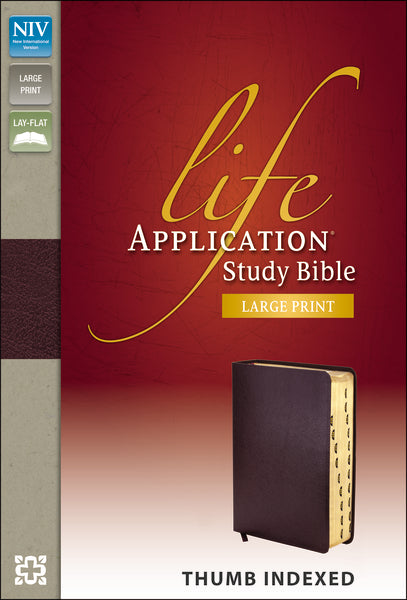 NIV, Life Application Study Bible, Large Print, Bonded Leather, Burgundy, Indexed