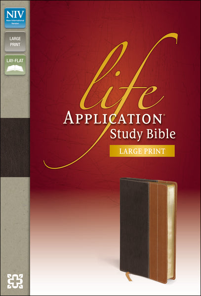 NIV, Life Application Study Bible, Large Print, Leathersoft, Brown/Tan