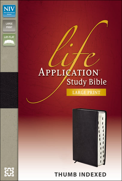 NIV, Life Application Study Bible, Large Print, Bonded Leather, Black, Indexed, Red Letter Edition