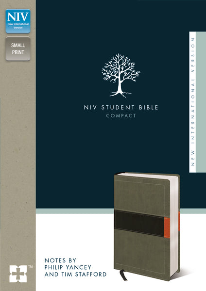 NIV, Student Bible, Compact, Leathersoft, Gray/Green