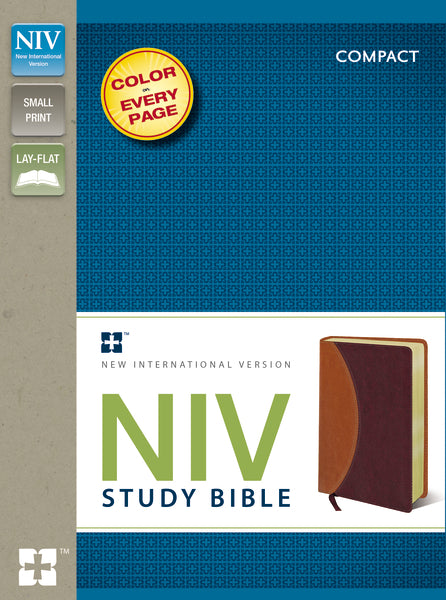 NIV Study Bible, Compact, Leathersoft, Tan/Burgundy, Red Letter Edition