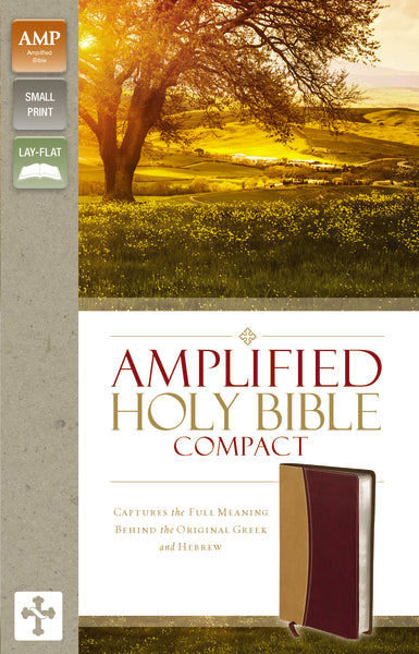 Amplified Holy Bible, Compact, Leathersoft, Tan/Burgundy