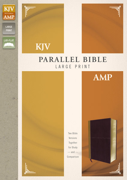 KJV, Amplified, Parallel Bible, Large Print, Leathersoft, Tan/Burgundy, Red Letter