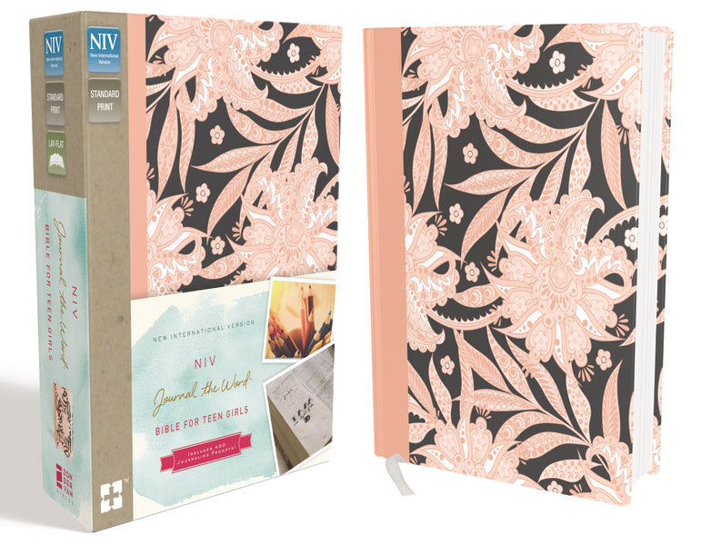 NIV, Journal the Word Bible for Teen Girls, Hardcover, Pink Floral, Red Letter Edition