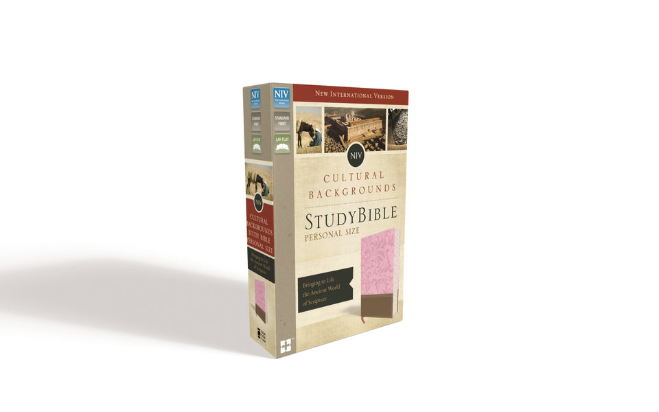 NIV, Cultural Backgrounds Study Bible, Personal Size, Leathersoft, Pink/Brown, Red Letter Edition