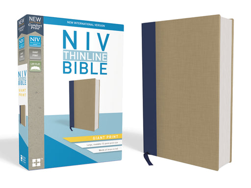 NIV, Thinline Bible, Giant Print, Cloth over Board, Blue/Tan, Red Letter Edition, Comfort Print