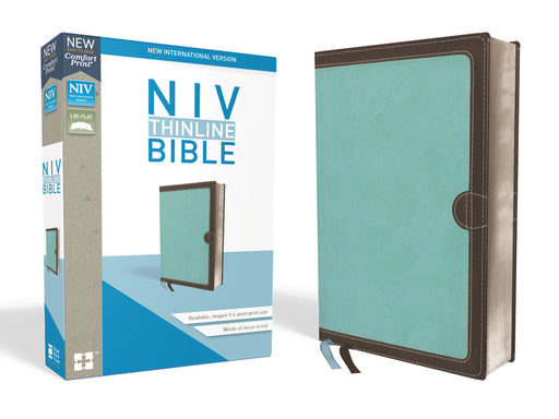 NIV, Thinline Bible, Leathersoft, Blue/Brown, Red Letter Edition, Comfort Print