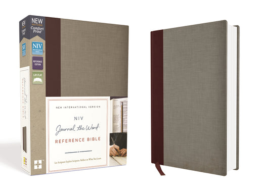 NIV, Journal the Word Reference Bible, Cloth over Board, Burgundy/Gray, Red Letter Edition, Comfort Print