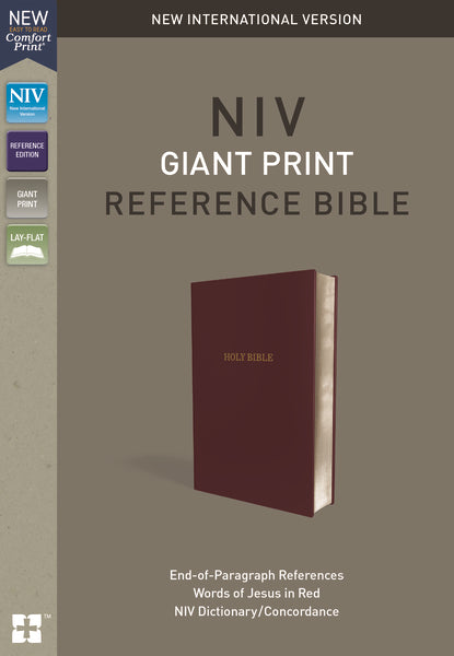 NIV, Reference Bible, Giant Print, Leather-Look, Burgundy, Red Letter Edition, Indexed, Comfort Print
