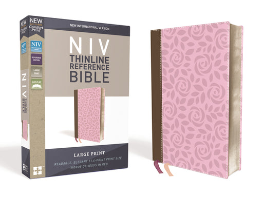 NIV, Thinline Reference Bible, Large Print, Leathersoft, Pink/Brown, Red Letter Edition, Comfort Print