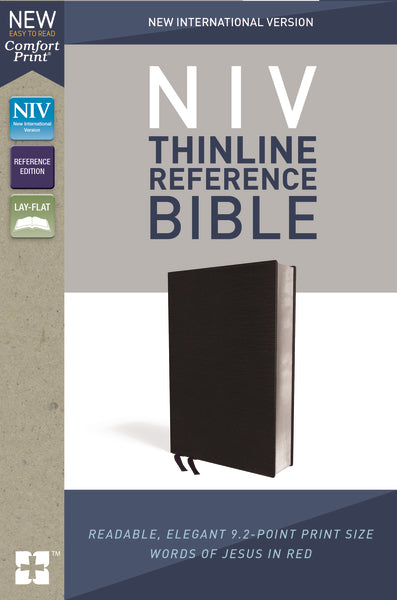 NIV, Thinline Reference Bible, Bonded Leather, Black, Red Letter Edition, Comfort Print