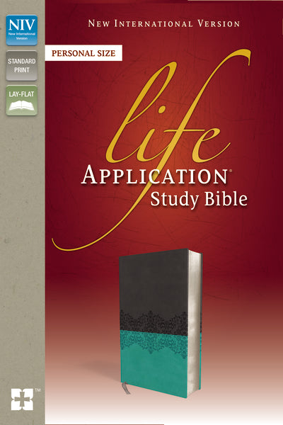 NIV, Life Application Study Bible, Second Edition, Personal Size, Leathersoft, Gray/Teal, Red Letter Edition, Thumb Indexed