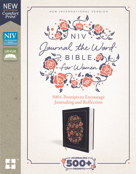 NIV, Journal the Word Bible for Women, Cloth over Board, Navy, Red Letter Edition, Comfort Print