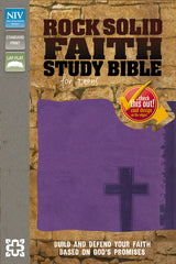 NIV, Rock Solid Faith Study Bible for Teens, Leathersoft, Purple