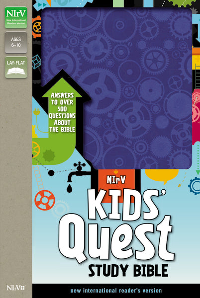 NIrV, Kids' Quest Study Bible, Leathersoft, Blue