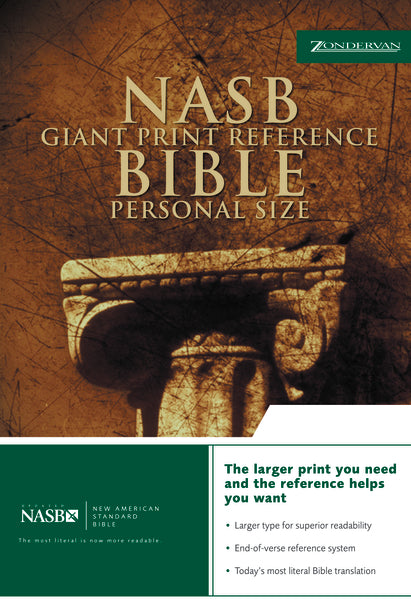 NASB, Reference Bible, Giant Print, Personal Size, Bonded Leather, Black, Red Letter Edition