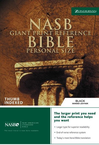 NASB, Reference Bible, Giant Print, Personal Size, Bonded Leather, Black, Thumb Indexed