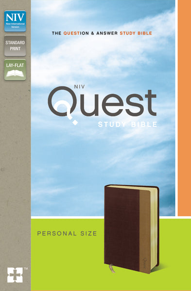 NIV, Quest Study Bible, Personal Size, Leathersoft, Burgundy/Tan