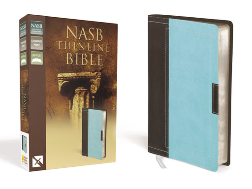 NASB, Thinline Bible, Leathersoft, Brown/Blue, Red Letter Edition