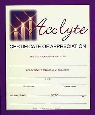 Full-Color Acolyte Appreciation Certificate (Package of 6)
