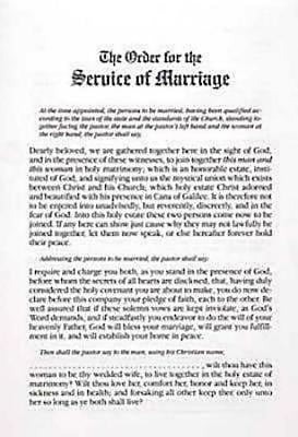 Traditional Marriage Service Bulletin Insert (Pkg of 6)