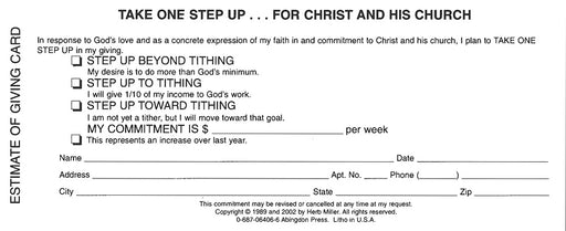 New Consecration Sunday Estimate of Giving Card (Pkg of 100)