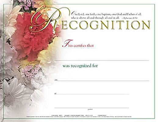 Certificate of Recognition (Package of 6)