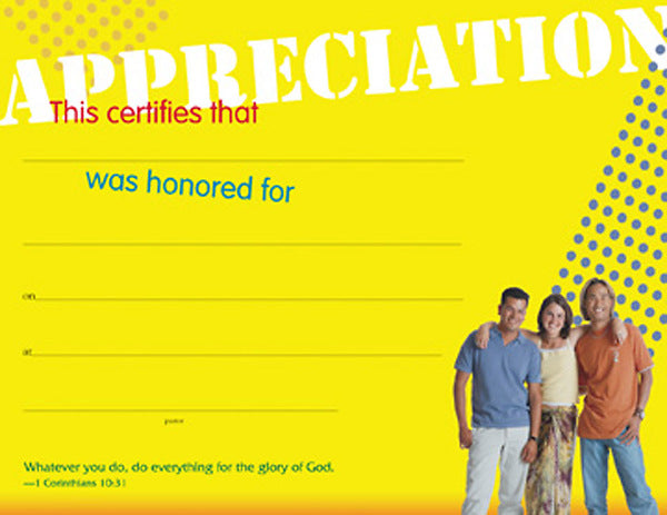Certificate of Appreciation for Teachers, Leaders, and Helpers with Tweens and Youth (Package of 6)